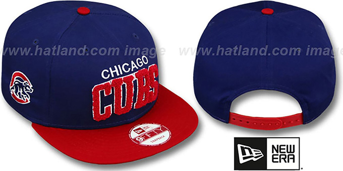 Cubs 'CHENILLE-ARCH SNAPBACK' Royal-Red Hat by New Era : pictured without stickers that these products are shipped with