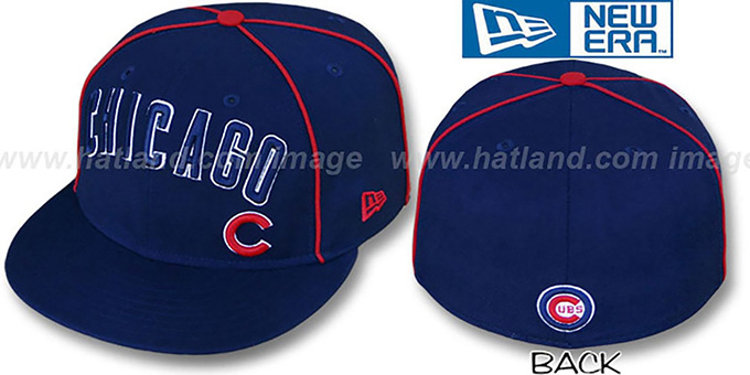 Cubs 'CITY-FLAWLESS' Navy Fitted Hat by New Era : pictured without stickers that these products are shipped with