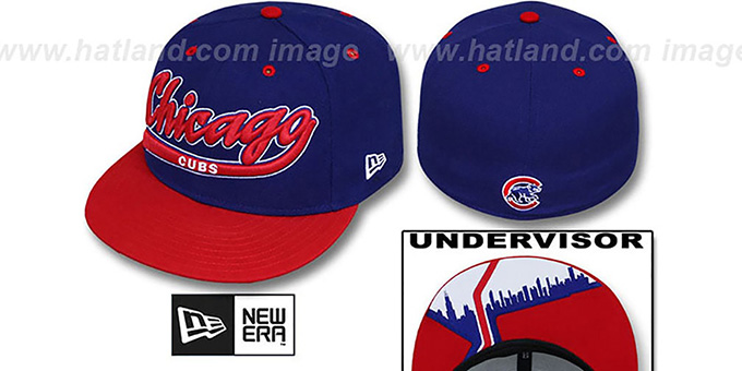 Cubs 'CITY-SCRIPT' Royal-Red Fitted Hat by New Era : pictured without stickers that these products are shipped with