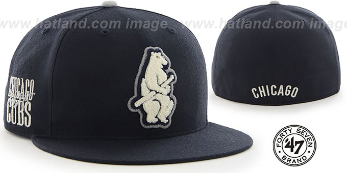 Cubs COOP 'CATERPILLAR' Navy Fitted Hat by 47 Brand : pictured without stickers that these products are shipped with