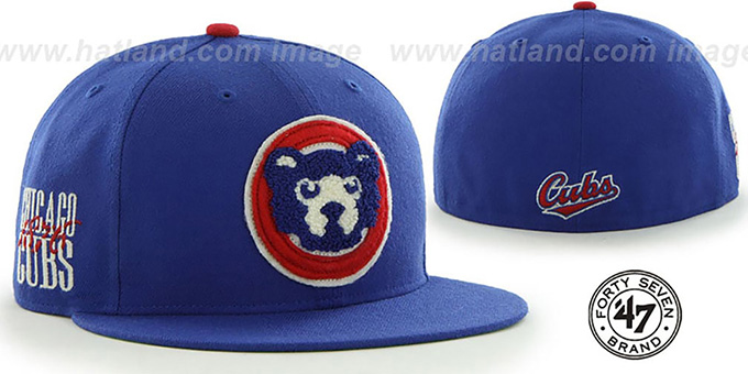 Cubs COOP 'CATERPILLAR' Royal Fitted Hat by 47 Brand : pictured without stickers that these products are shipped with