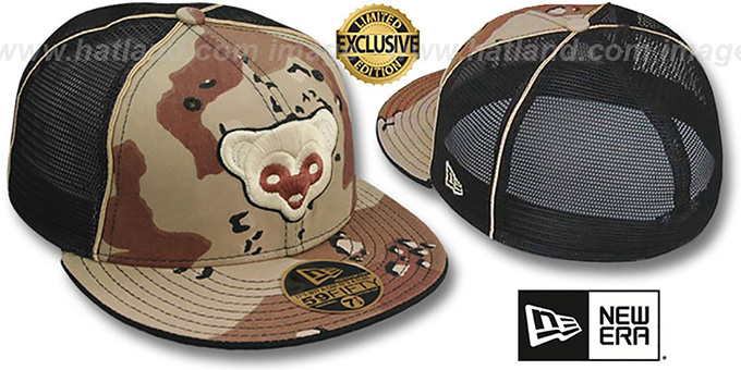 Cubs COOP 'DESERT STORM MESH-BACK' Fitted Hat by New Era : pictured without stickers that these products are shipped with