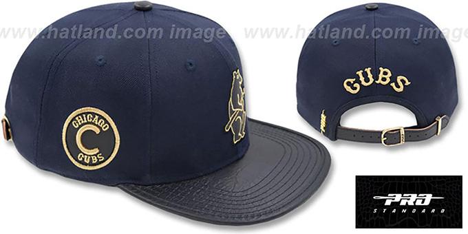 b20d6f07832 Cubs  COOP METALLIC POP STRAPBACK  Navy Hat by Pro Standard