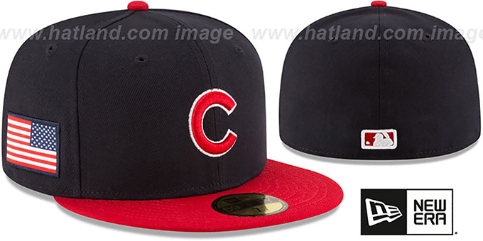 Cubs 'COUNTRY COLORS' Navy-Red Fitted Hat by New Era : pictured without stickers that these products are shipped with