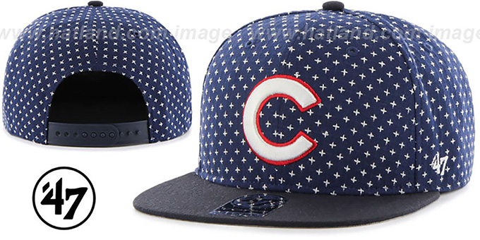 Cubs 'CROSSBREED SNAPBACK' Navy Hat by Twins 47 Brand : pictured without stickers that these products are shipped with