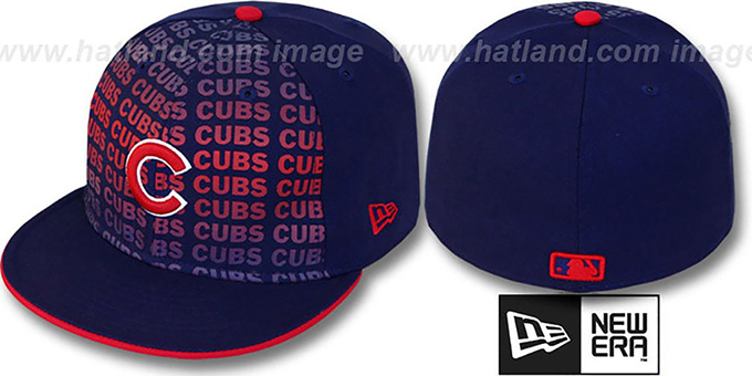 Cubs 'FONT-FADEOUT' Royal Fitted Hat by New Era : pictured without stickers that these products are shipped with