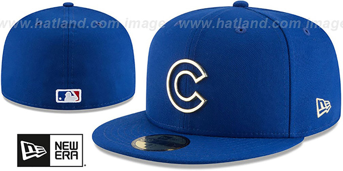 Cubs  GOLD FRAMED METAL-BADGE  Royal Fitted Hat by ... 0922a00706a