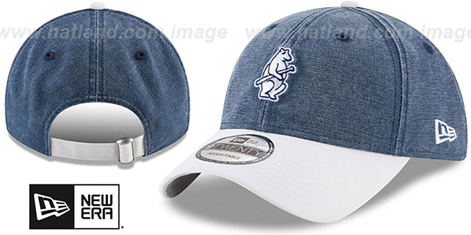 Cubs 'GW COOP RUGGED CANVAS STRAPBACK' Navy-White Hat by New Era : pictured without stickers that these products are shipped with