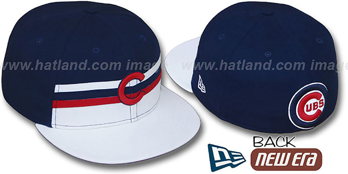 Cubs 'HORIZON' Fitted Hat by New Era : pictured without stickers that these products are shipped with
