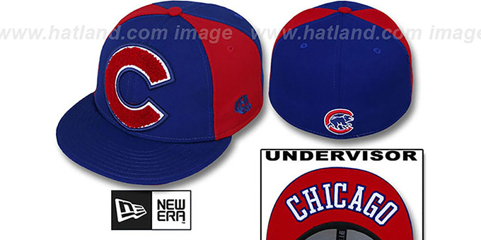 Cubs 'LETTERMAN' Royal-Red Fitted Hat by New Era : pictured without stickers that these products are shipped with