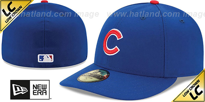 Cubs 'LOW-CROWN' GAME Fitted Hat by New Era : pictured without stickers that these products are shipped with