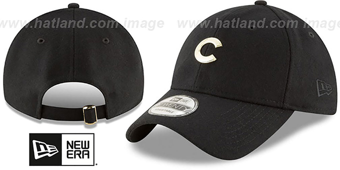 Cubs 'MINI GOLD METAL-BADGE STRAPBACK' Black Hat by New Era : pictured without stickers that these products are shipped with