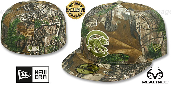 Cubs 'MLB TEAM-BASIC' Realtree Camo Fitted Hat by New Era : pictured without stickers that these products are shipped with