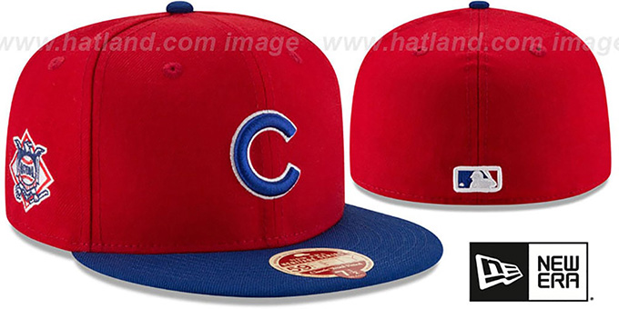 Cubs 'MLB WOOL-STANDARD' Red-Royal Fitted Hat by New Era : pictured without stickers that these products are shipped with