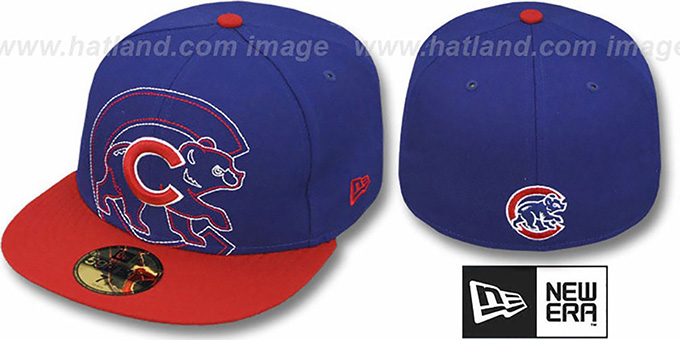 Cubs 'NEW MIXIN' Royal-Red Fitted Hat by New Era : pictured without stickers that these products are shipped with