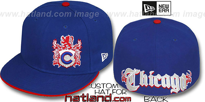 Cubs 'OLD ENGLISH SOUTHPAW' Royal-Red Fitted Hat by New Era : pictured without stickers that these products are shipped with