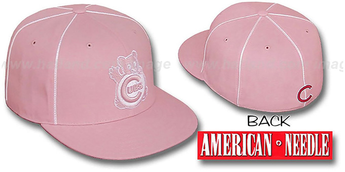 Cubs 'PINK CADDY' Fitted Hat by American Needle : pictured without stickers that these products are shipped with
