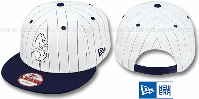 Cubs 'PINSTRIPE BITD SNAPBACK' White-Navy Hat by New Era : pictured without stickers that these products are shipped with