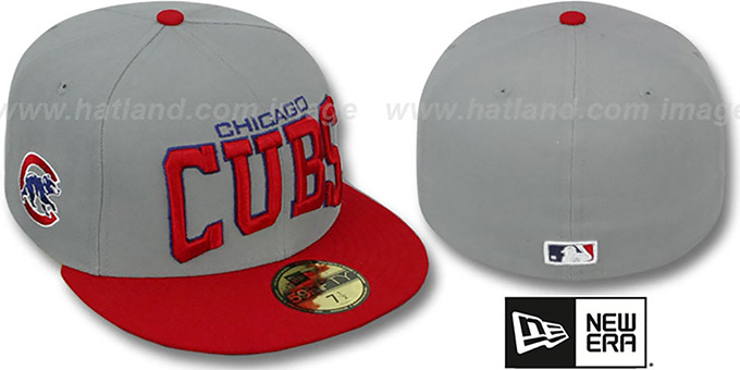 Cubs 'PRO-ARCH' Grey-Red Fitted Hat by New Era : pictured without stickers that these products are shipped with