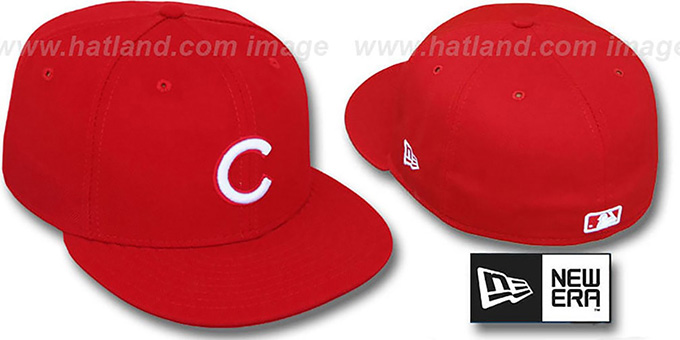 Cubs Red-White '59FIFTY' Fitted Hat by New Era : pictured without stickers that these products are shipped with