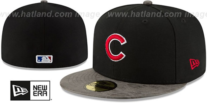 Cubs 'RUSTIC-VIZE' Black-Grey Fitted Hat by New Era : pictured without stickers that these products are shipped with
