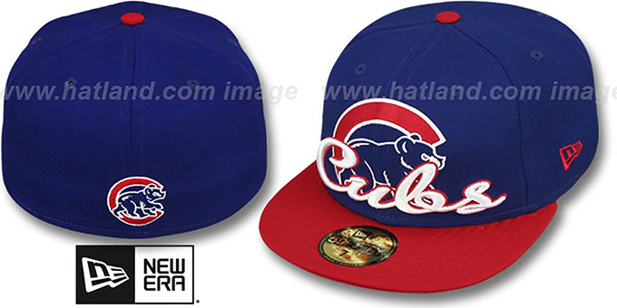 Cubs 'SCRIPT-PUNCH' Royal-Red Fitted Hat by New Era : pictured without stickers that these products are shipped with
