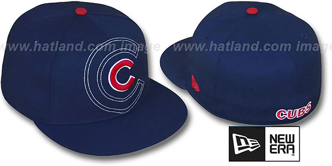 Cubs 'SHADOW BIG-ONE' Navy Fitted Hat by New Era : pictured without stickers that these products are shipped with