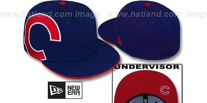 Cubs 'SIDEWINGER' Royal Fitted Hat by New Era : pictured without stickers that these products are shipped with