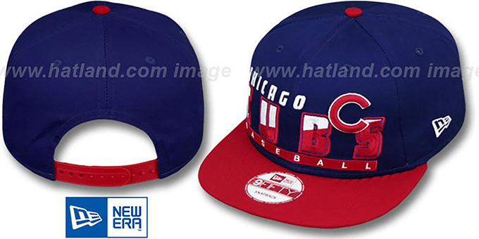 Cubs 'SLICE-N-DICE SNAPBACK' Royal-Red Hat by New Era : pictured without stickers that these products are shipped with