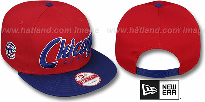 Cubs 'SNAP-IT-BACK SNAPBACK' Red-Royal Hat by New Era : pictured without stickers that these products are shipped with