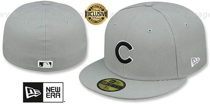 Cubs 'TEAM-BASIC' Grey-Black-White Fitted Hat by New Era : pictured without stickers that these products are shipped with