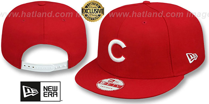 Cubs 'TEAM-BASIC SNAPBACK' Red-White Hat by New Era : pictured without stickers that these products are shipped with