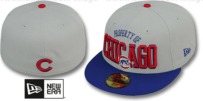 Cubs 'TEAM-PRIDE' Grey-Royal Fitted Hat by New Era : pictured without stickers that these products are shipped with