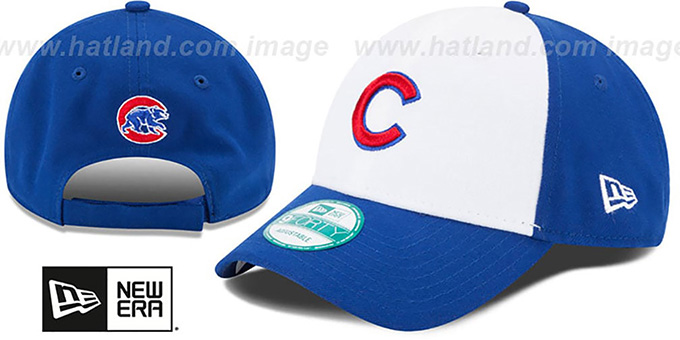 Cubs 'THE-LEAGUE STRAPBACK' White-Royal Hat by New Era : pictured without stickers that these products are shipped with