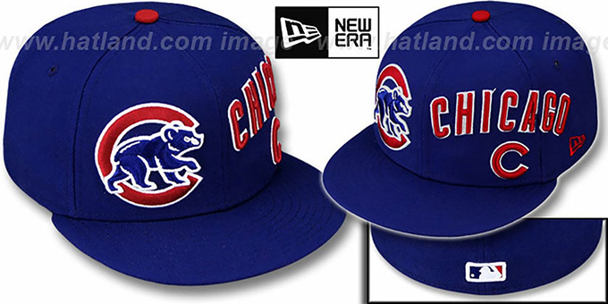 Cubs 'TRIPLE PLAY' Royal Fitted Hat by New Era : pictured without stickers that these products are shipped with