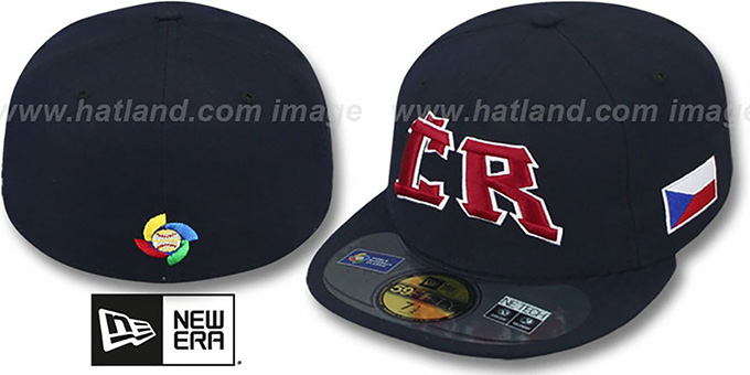 Czech Republic 'PERFORMANCE WBC' Navy Hat by New Era : pictured without stickers that these products are shipped with