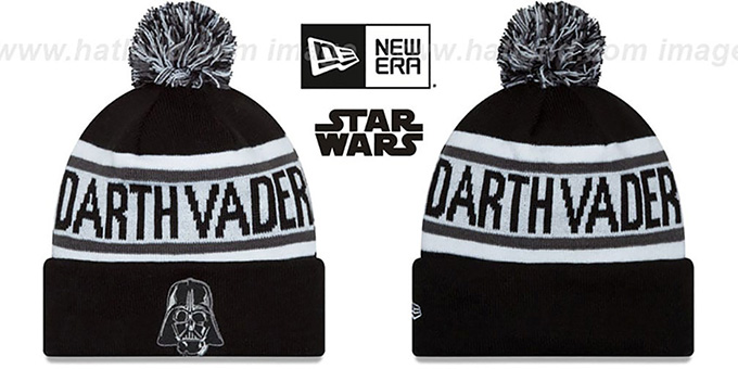 Darth Vader 'BIGGEST FAN' Black-White Knit Beanie Hat by New Era : pictured without stickers that these products are shipped with