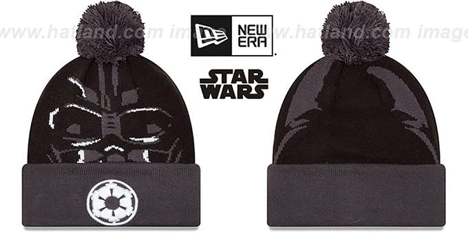 Darth Vader 'GALLACTIC BIGGIE' Black-Grey Knit Beanie Hat by New Era : pictured without stickers that these products are shipped with