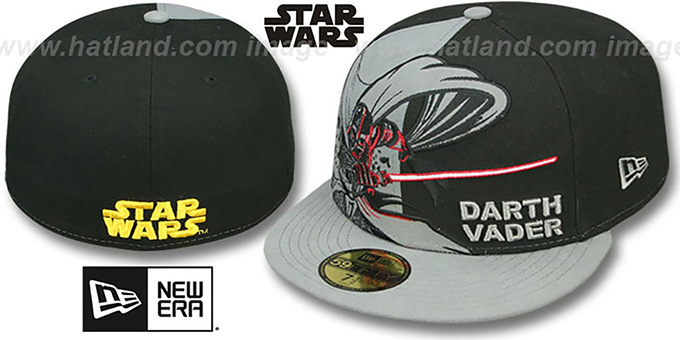 Darth Vader 'PANEL-POP' Black-Grey Fitted Hat by New Era : pictured without stickers that these products are shipped with