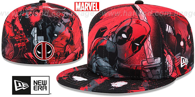 Deadpool 'HI-RES ALL-OVER' Fitted Hat by New Era : pictured without stickers that these products are shipped with