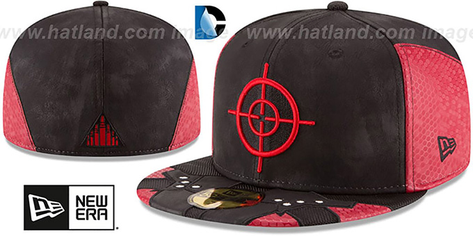 Deadshot 'CHARACTER FACE' Black-Red Fitted Hat by New Era : pictured without stickers that these products are shipped with
