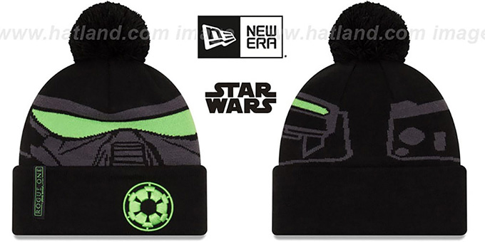 Death Trooper 'GALLACTIC BIGGIE' Black-Grey Knit Beanie Hat by New Era : pictured without stickers that these products are shipped with