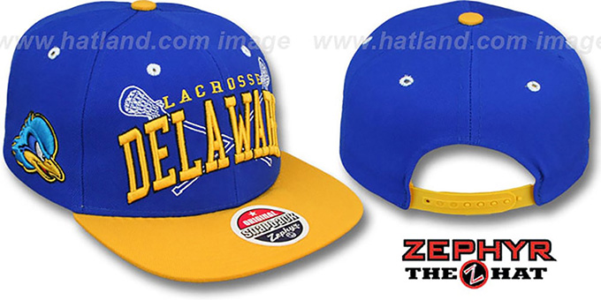 Delaware 'LACROSSE SUPER-ARCH SNAPBACK' Royal-Gold Hat by Zephyr : pictured without stickers that these products are shipped with