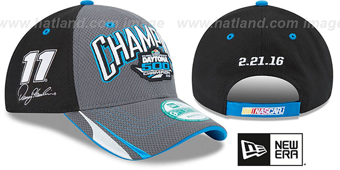 Denny Hamlin '2016 DAYTONA 500 CHAMPION' Hat by New Era : pictured without stickers that these products are shipped with