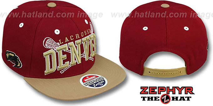 Denver 'LACROSSE SUPER-ARCH SNAPBACK' Burgundy-Gold Hat by Zephyr : pictured without stickers that these products are shipped with