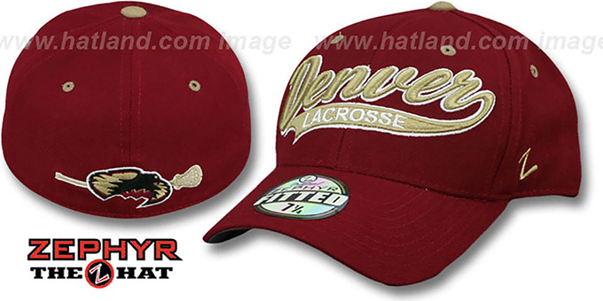 Denver 'SWOOP LACROSSE' Burgundy Fitted Hat by Zephyr : pictured without stickers that these products are shipped with