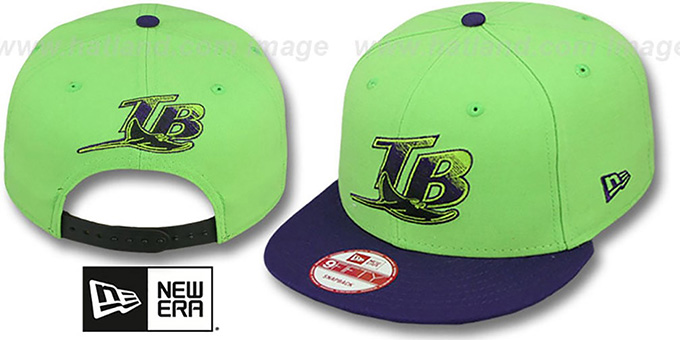 Devil Rays '2T-FASHION SNAPBACK' Lime-Purple Hat by New Era : pictured without stickers that these products are shipped with