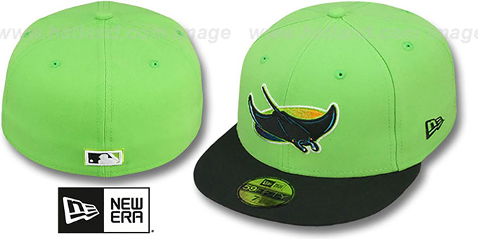 Devil Rays COOP '2T-FASHION' Lime-Black Fitted Hat by New Era : pictured without stickers that these products are shipped with