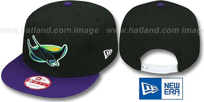 Devil Rays COOP 'TEAM-BASIC-2 SNAPBACK' Black-Purple Hat by New Era : pictured without stickers that these products are shipped with