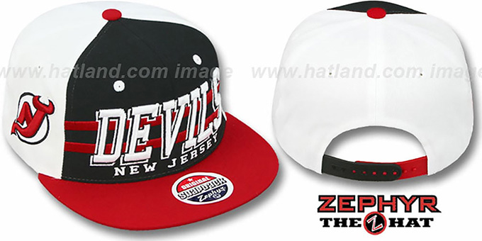 Devils '2T SUPERSONIC SNAPBACK' Black-Red Hat by Zephyr : pictured without stickers that these products are shipped with